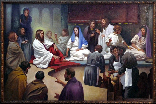 "Recently completed ""Wedding Feast of Cana"" by painting instructor William Nathans."
